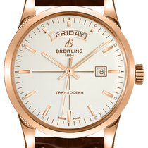 Breitling Transocean Day & Date Roségold 43mm Silber
