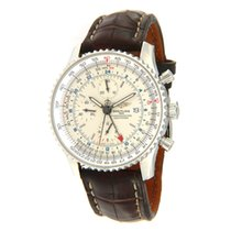 Breitling Navitimer World pre-owned 48mm Silver Chronograph Date GMT Leather
