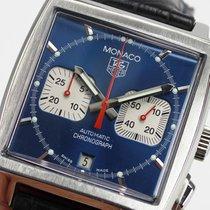 TAG Heuer Monaco gebraucht 46.3mm Blau Chronograph Datum Leder