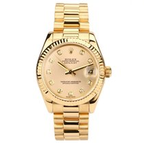 Rolex Yellow gold Automatic Gold No numerals 31mm pre-owned Datejust