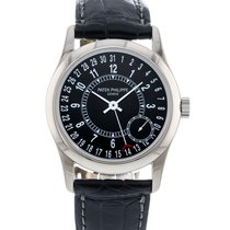 Patek Philippe White gold Automatic Black 37mm pre-owned Calatrava