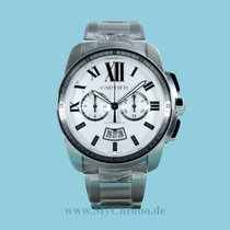 Cartier Calibre de Cartier Chronograph Acero 42mm Blanco Romanos
