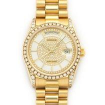Rolex Yellow Gold Day-Date White Enamel & Diamond Watch Ref....