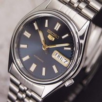 Seiko 5 Automatic Day Date Vintage Deep Blue/Steel automatik