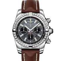 Breitling CHRONOMAT 44 Grey Blackeye Brown Leather Steel Diamonds