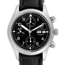 IWC Pilot Chronograph Stal 39mm Czarny Arabskie