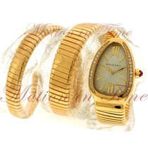 Bulgari Yellow gold Quartz Silver Roman numerals 35mm new Serpenti