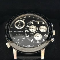 Uhr-Kraft Big World Chronograph Dual Twin Time Black Dial