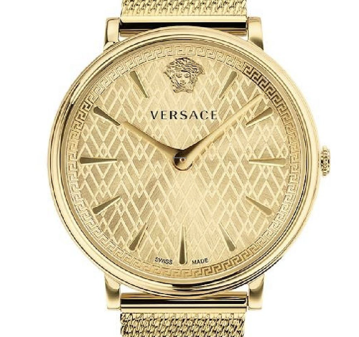nuovo concetto 766af d7112 Versace V-Circle Manifesto Watch IP Gold Stainless Steel VE8100619