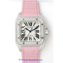 Cartier Santos 100 White gold 33mm Silver Roman numerals United States of America, California, Newport Beach
