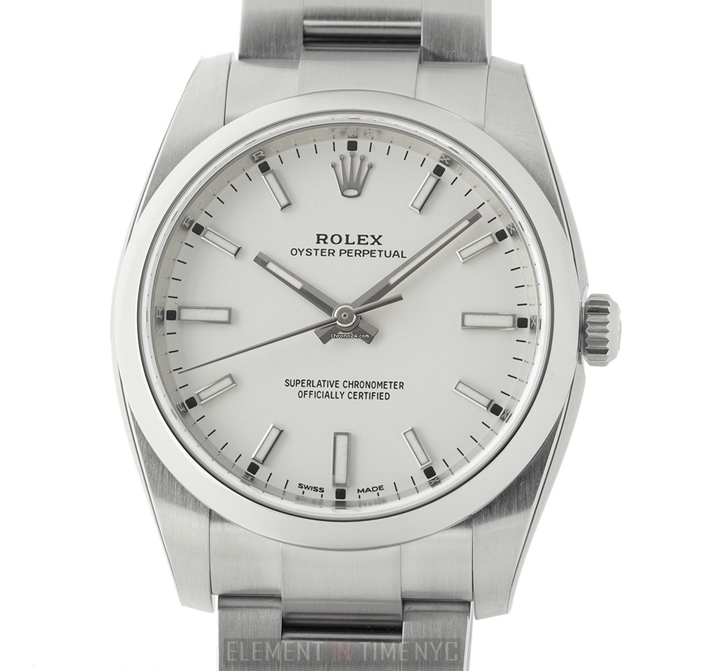 Rolex Oyster Perpetual 34mm No,Date Stainless Steel White Dial