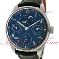 IWC White gold Automatic Blue Arabic numerals 44.2mm new Portuguese Perpetual Calendar