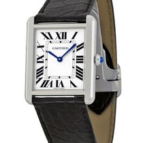 Cartier W5200003 Tank Solo - Large Size in Steel - on Black...