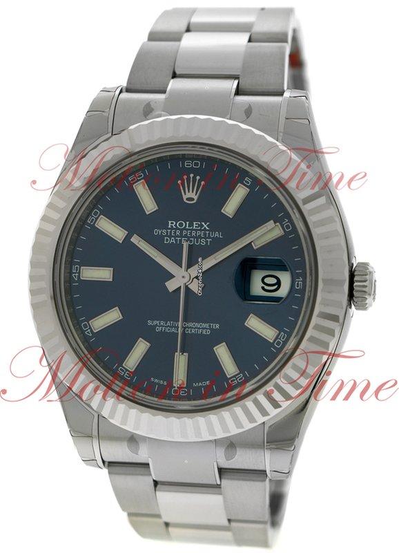 Rolex Datejust II, Blue Index Dial, White Gold Fluted Bezel
