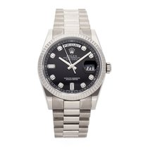 Rolex White gold Automatic Black No numerals 36mm pre-owned Day-Date 36