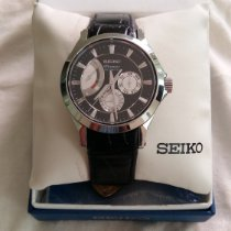 Seiko Premier Automatic Steel 42mm Black No numerals
