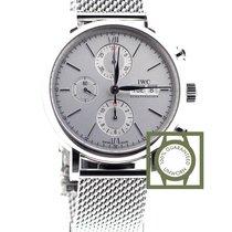 IWC Portofino Chronograph Full Steel Silver Dial Date NEW