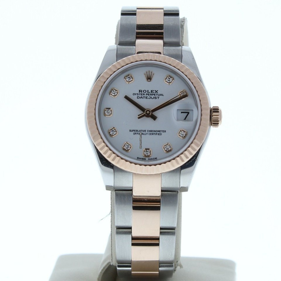 Rolex 178271 31mm Datejust Steel 18k Rose Gold Oyster Band White Diamond Dial