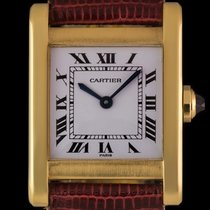 Cartier 18k Yellow Gold White Roman Dial Tank Gents Wristwatch