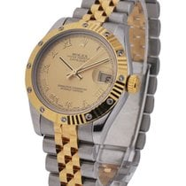 Rolex Used 178313 DateJust Two-Tone with Fluted Diamond Bezel...