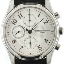 Frederique Constant Runabout Chronograph pre-owned 43mm Silver Chronograph Date Leather