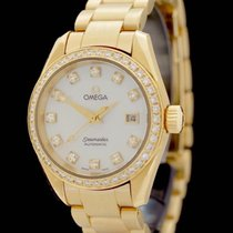 Omega Yellow gold Automatic Mother of pearl No numerals 29.5mm pre-owned Seamaster Aqua Terra