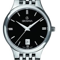 Grovana new Quartz Center Seconds 28mm Steel Sapphire crystal