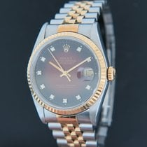 Rolex Datejust Gold/Steel 16233 Red Vignette Diamond Dial