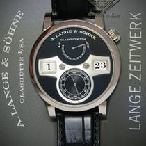 A. Lange & Söhne White gold Manual winding Black 41.9mm pre-owned Zeitwerk