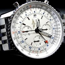 Breitling Navitimer pre-owned 46mm Silver Chronograph Date GMT Steel