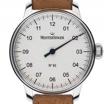 Meistersinger No.1 Einzeigeruhr Stahl Handaufzug Armband Leder...