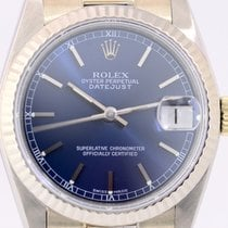 Rolex Datejust Medium 18K Gold President blue Dial Box Papers rar