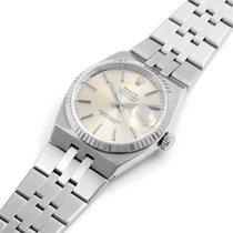 Rolex 1983 Steel Oysterquartz Silver Stick White Gold Bezel 36mm