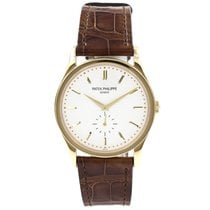 Patek Philippe Yellow gold Manual winding Silver No numerals 37mm pre-owned Calatrava