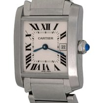 Cartier Tank Française pre-owned 25mm Silver Date Steel