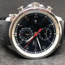 IWC Portuguese Yacht Club Chronograph pre-owned Black Chronograph Date Rubber