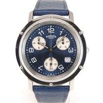 Hermès Clipper Stahl 37mm Blau