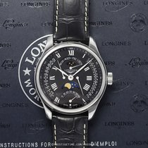 Longines Master Collection pre-owned 44mm Black Moon phase Date Weekday Month Year GMT Crocodile skin