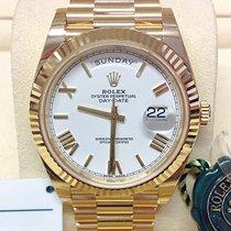 Rolex Day-Date 40 Oro giallo 40mm Bianco Romano