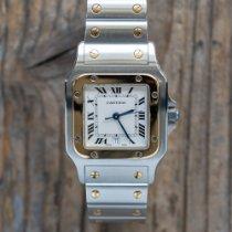 까르띠에 산토스 갈베 금/스틸 29mm 흰색 로마숫자