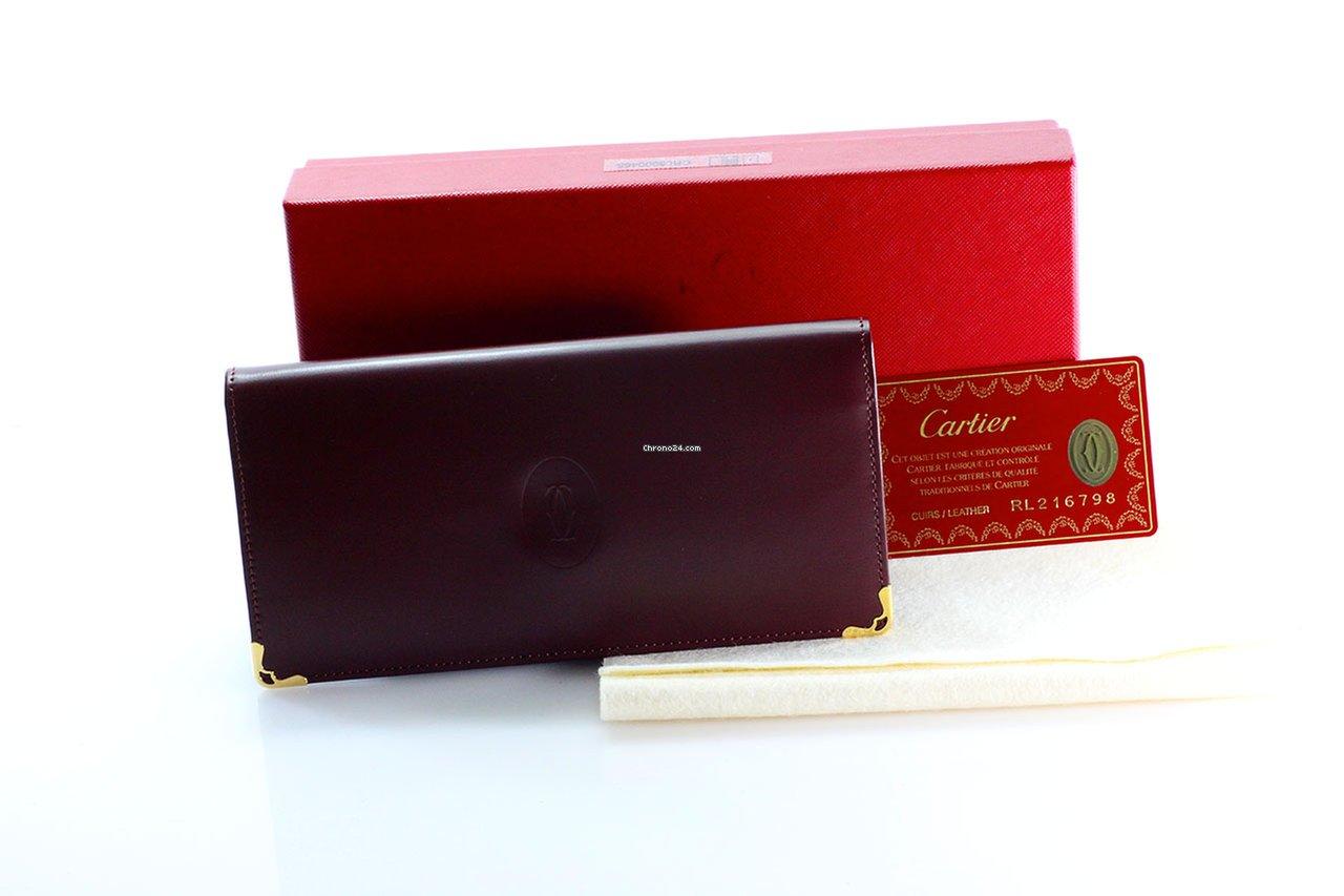 codice promozionale c3e58 48fac Cartier Portafoglio Long Billfold Bordeaux Calf-Leather NOS