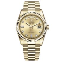 Rolex DAY-DATE 36mm 18K Yellow Gold President Diamond Dial ...
