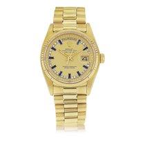 Rolex 18k Day-Date Sapphire Baguette String Diamond Dial Ref18038