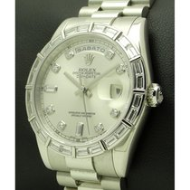 Rolex   Day Date Platinum, ref.118366, Baguette Bezel and...