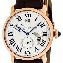Cartier Rotonde GMT 18KT Rosegold Brown Leather Band Men Watch...