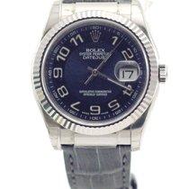 Rolex Datejust 36mm white gold blue dial crocodile 116139