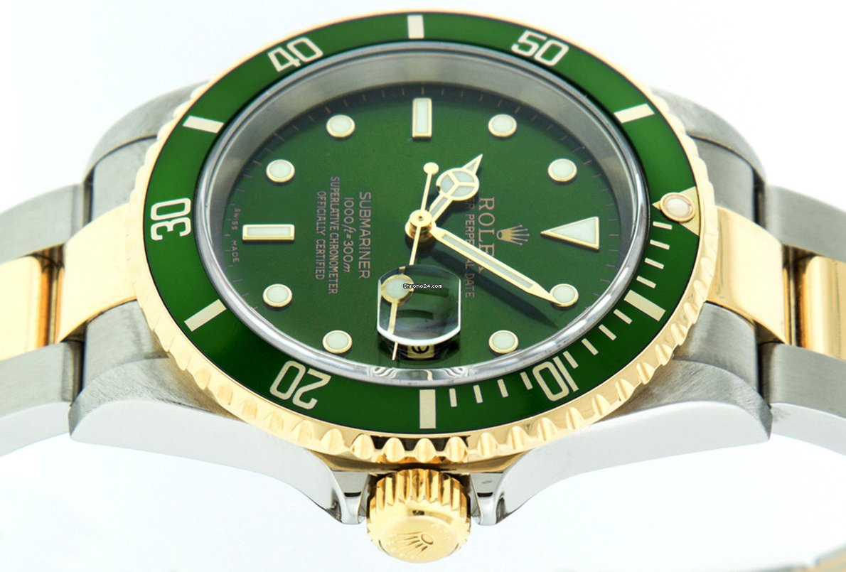 Rolex Submariner 16613 18K Y Gold/SS Green Luminous Dial