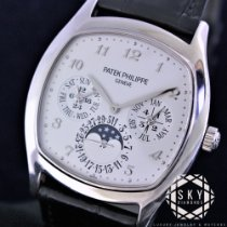 Patek Philippe White gold Automatic Silver Arabic numerals 37mm pre-owned Perpetual Calendar