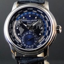 Frederique Constant Manufacture Worldtimer pre-owned 42mm Blue Date GMT Crocodile skin