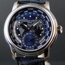Frederique Constant Manufacture Worldtimer occasion 42mm Bleu Date GMT Cuir de crocodile